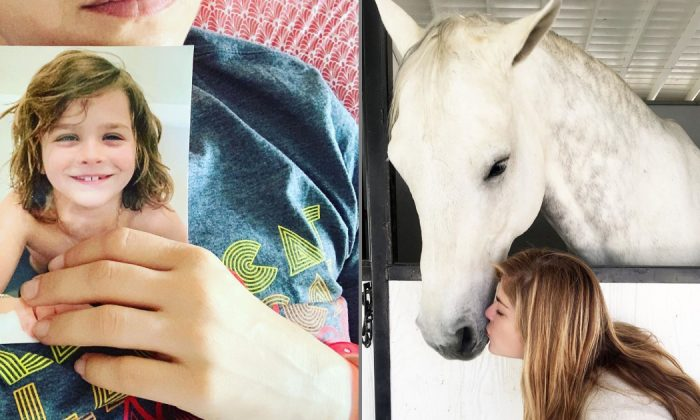 Comedy Actress Selma Blair with her horse at Cellar Door Farm near Los Angeles, Calif., on July 17, 2019. (Courtesy of Selma Blair/Instagram)