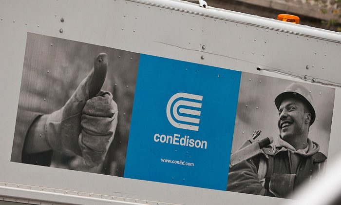 Con Edison trucks are lined up in Union Square in New York City on Oct. 28, 2012. (Andrew Burton/Getty Images)
