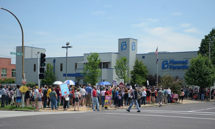 A pro-life rally outside a Planned Parenthood Reproductive Health Center in St. Louis, on June 4, 2019. (Michael B. Thomas/Getty Images)