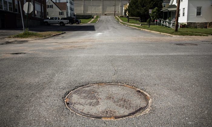Manhole in Dannemora, New York. (Andrew Burton/Getty Images)