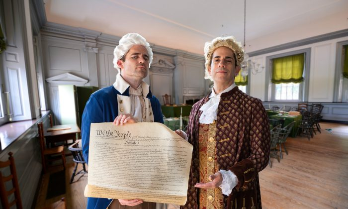 Dustin Bass (L) as George Washington and Alan Wakim as John Adams. (Sons of History)