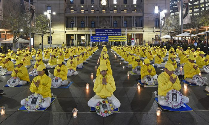 Falun Gong practitioners in Sydney, Australia, mark 20 years of brutal persecution of their faith by the communist Chinese regime on July 19, 2019. (The Epoch Times)