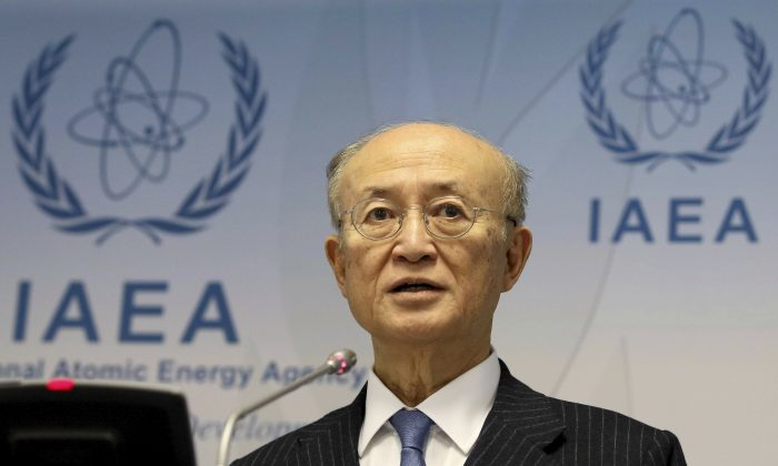 International Atomic Energy Agency (IAEA) Director General Yukiya Amano of Japan addresses the media during a news conference after a meeting of the IAEA board of governors at the International Center in Vienna, Austria, on Nov. 22, 2018. (Ronald Zak/AP Photo)