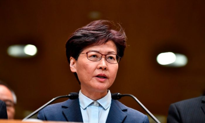 Hong Kong leader Carrie Lam speaks to the media during a press conference in Hong Kong on July 22, 2019. (Anthony Wallace/AFP/Getty Images)