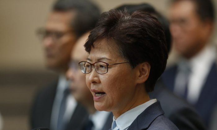 Hong Kong Chief Executive Carrie Lam speaks to reporters during a press conference in Hong Kong on July 22, 2019. (Vincent Yu/AP Photo)