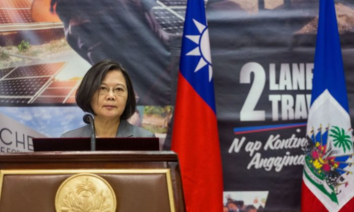 Taiwan's President Tsai Ing-Wen delivers a speech during the inauguration of the Taiwan Fair in Port-au-Prince, Haiti, on July 13, 2019. (Pierre Michel Jean/AFP/Getty Images)