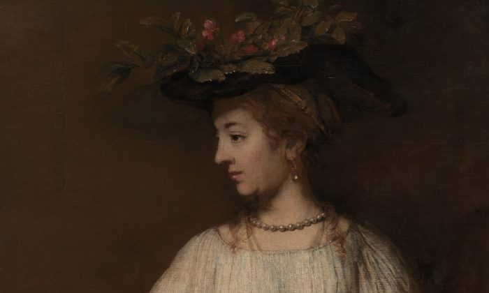 "A detail of ""Flora,"" circa 1654, by Rembrandt. Oil on canvas, 39 3/8 inches by 36 1/8 inches. Gift of Archer M. Huntington, in memory of his father, Collis Potter Huntington, 1926. (The Metropolitan Museum of Art)"