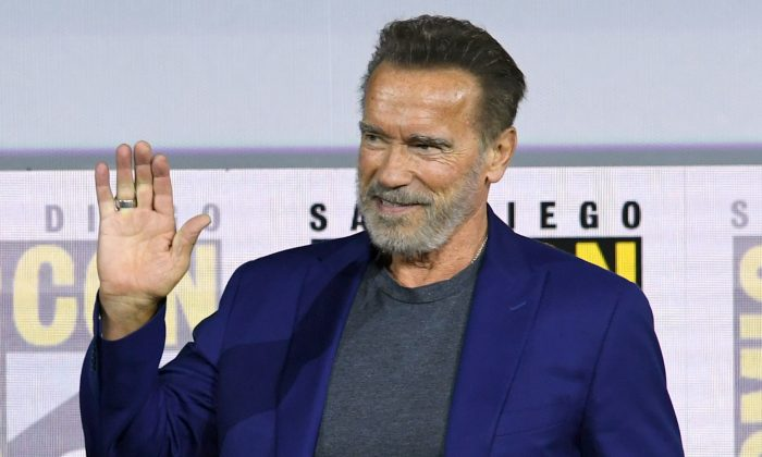 "Arnold Schwarzenegger speaks at the ""Terminator: Dark Fate"" panel during 2019 Comic-Con International in San Diego, Calif., on July 18, 2019. (Kevin Winter/Getty Images)"