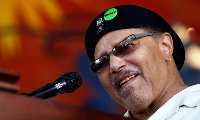 Art Neville sings with The Neville Brothers during the New Orleans Jazz and Heritage Festival at the Fair Grounds Race Course in New Orleans, Louisiana, on May 4, 2008. (Chris Graythen/Getty Images)