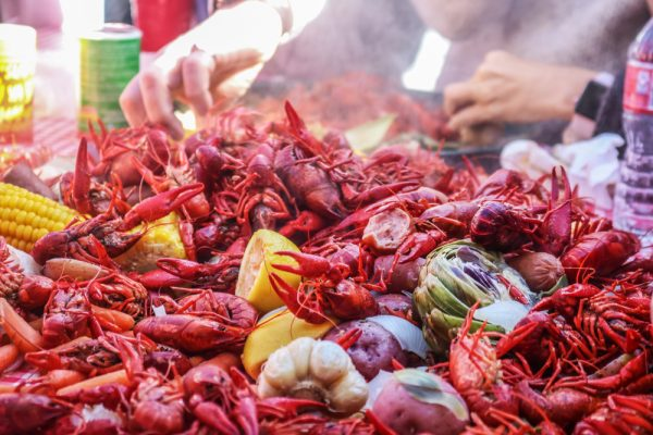 Boiled crawfish and vegetables