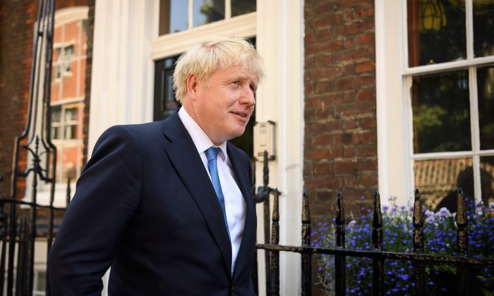 Boris Johnson leaves his campaign headquarters after he was announced as the new Conservative leader and prime minister, in London, on July 23, 2019. (Leon Neal/Getty Images)