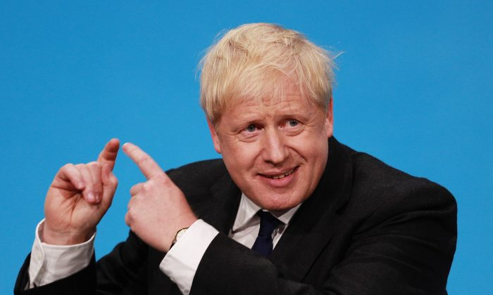 Boris Johnson talks at the final hustings of the Conservative leadership campaign at ExCeL London on July 17, 2019 in London, England. (Dan Kitwood/Getty Images)