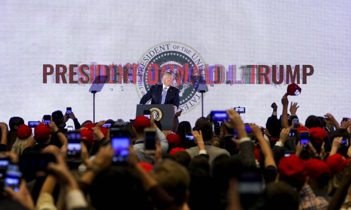 President Donald Trump speaks at the Turning Point USA Teen Student Action Summit in Washington on July 23, 2019. (Samira Bouaou/The Epoch Times)