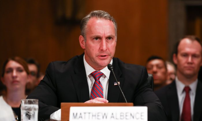 Matthew Albence, then-executive associate director for Immigration and Customs Enforcement, testifies at a hearing at the Capitol on Sept. 18, 2018. (Samira Bouaou/The Epoch Times)