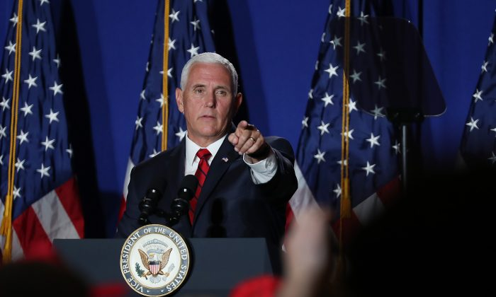 Vice President Mike Pence speaks during the Donald J. Trump for President Latino Coalition Rollout at the DoubleTree by Hilton Hotel Miami Airport & Convention Center in Miami, Fla., on June 25, 2019. (Joe Raedle/Getty Images)