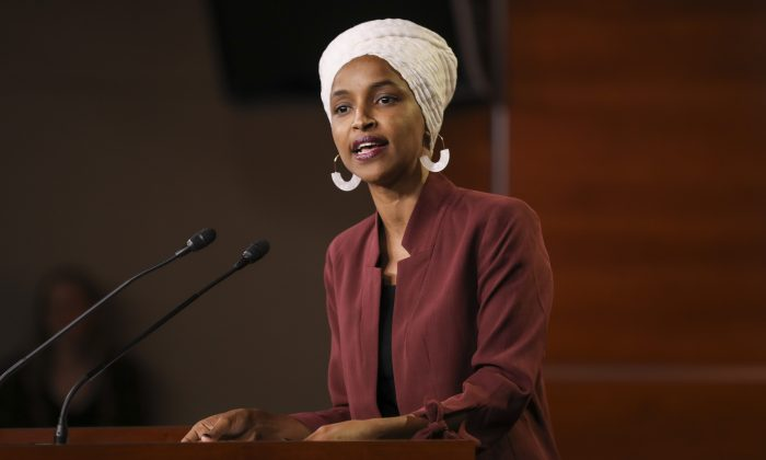 Rep. Ilhan Omar (D-Minn.) speaks at a press conference at the Capitol in Washington on July 15, 2019. (Holly Kellum/NTD)