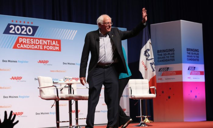 Democratic presidential hopeful Sen. Bernie Sanders (I-Vt.) at the AARP and The Des Moines Register Iowa Presidential Candidate Forum in Council Bluffs, Iowa, on July 20, 2019. (Justin Sullivan/Getty Images)