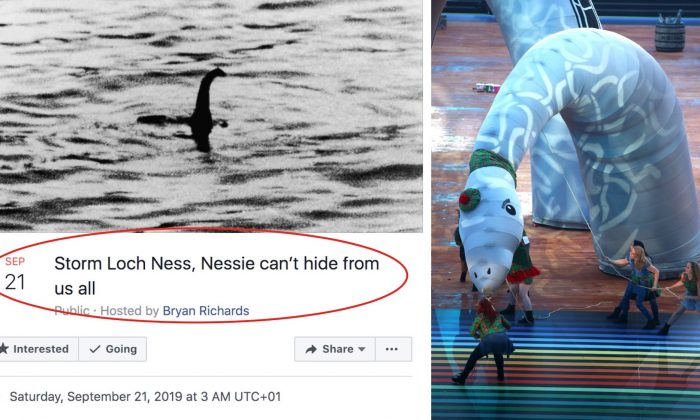 """(L) A Facebook event called """"Storm Loch Ness, Nessie Can't Hide From Us All"""" is getting traction online. (R) Dancers perform with a Loch Ness Monster mock-up at the Glasgow 2014 Commonwealth Games in Glasgow, Scotland, on July 23, 2014. (Richard Heathcote/Getty Images)"""