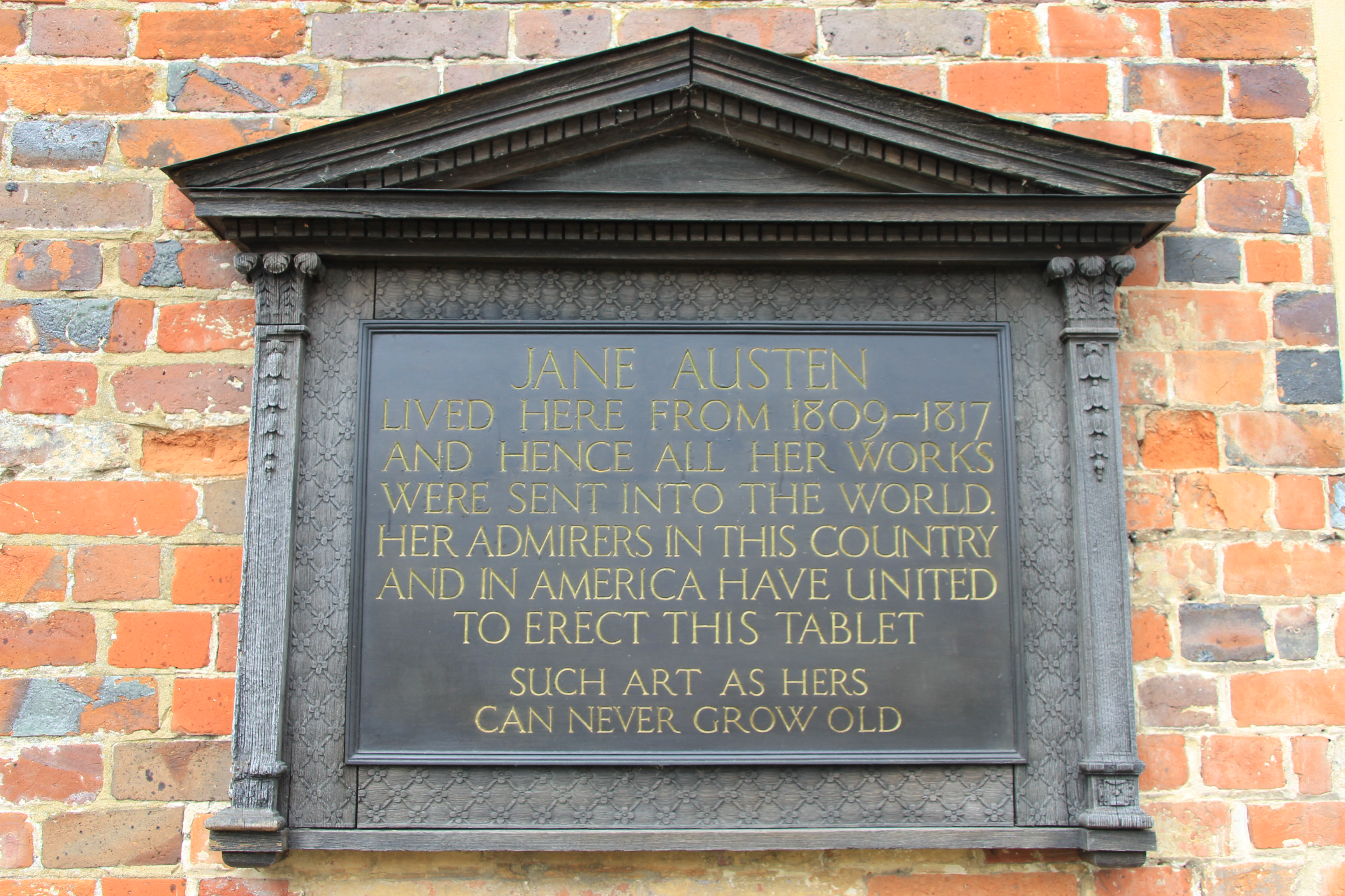 Jane Austen's House Museum memorial plaque Wibke Carter