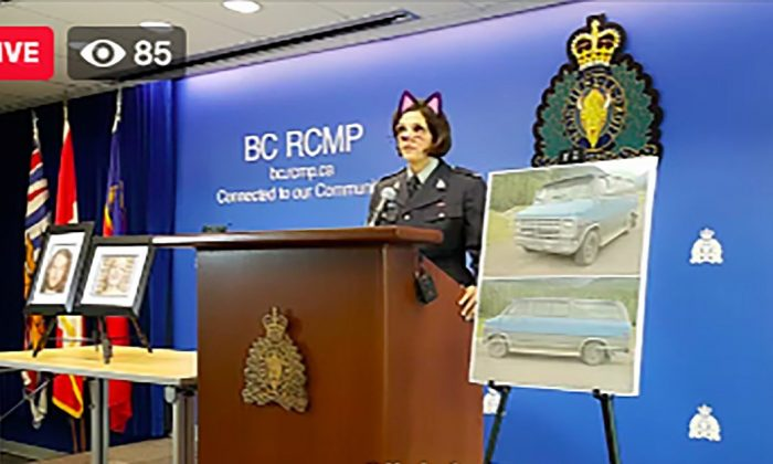 British Columbia Royal Canadian Mounted Police Sargent Janelle Shoihet delivered a live press conference with the cat filter applied in Vancouver, Canada, on July 19, 2019. (Courtesy of Tyler Dawson/Twitter)