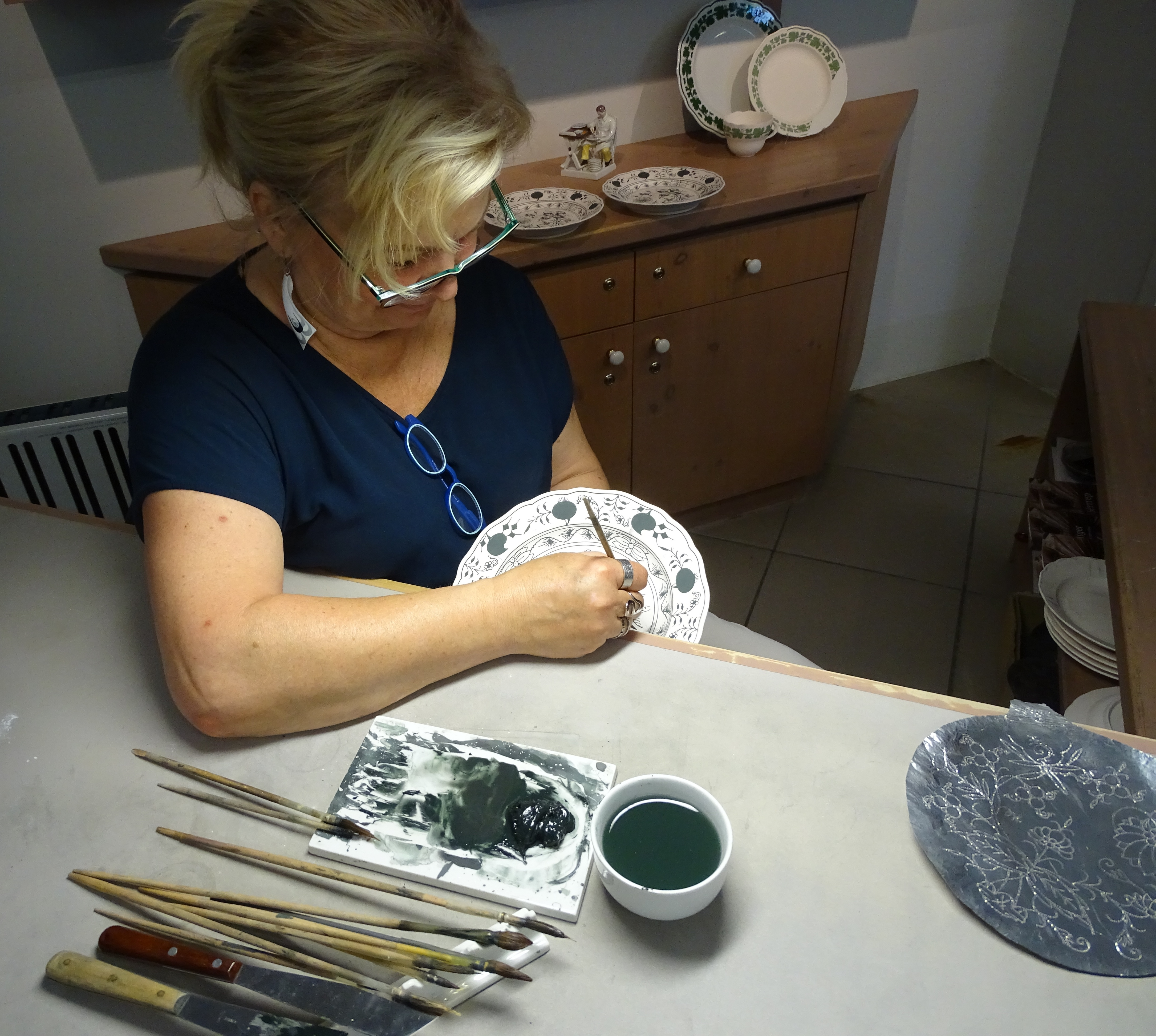 hand-painting demonstration Meissen Porcelain Manufactory