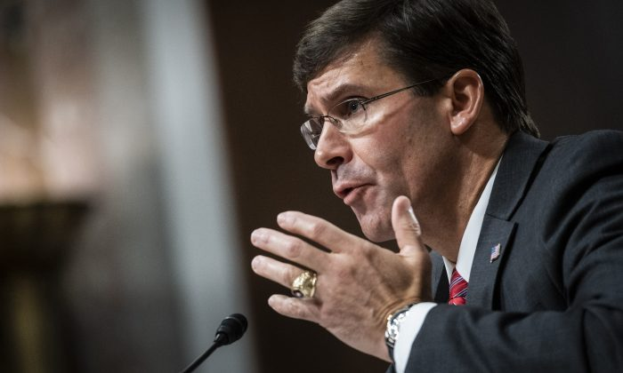 Secretary of Defense nominee, Mark Esper, testifies before the Senate Armed Services Committee during his confirmation hearing  in Washington, on July 16, 2019. (Marovich/Getty Images)