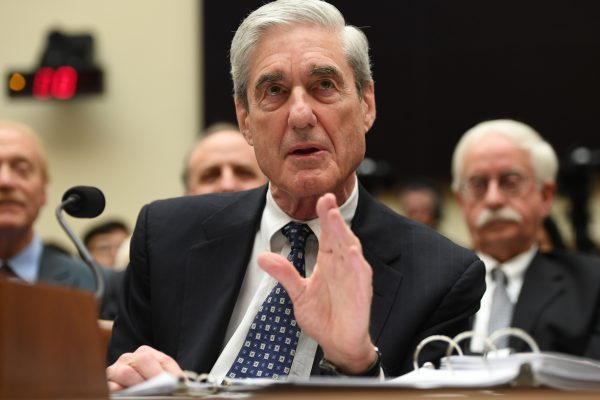 Former U.S. special prosecutor Robert Mueller testifies before Congress in Washington, D.C., on July 24, 2019. Mueller, who concluded his investigation in late May, was unable to establish that Trump or anyone on his campaign colluded with Russia to influence the 2016 election. (SAUL LOEB/AFP/Getty Images)