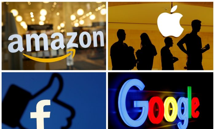 The logos of Amazon, Apple, Facebook and Google (Reuters Photo)