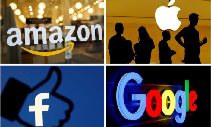 The logos of Amazon, Apple, Facebook and Google are seen in a combination photo.(Reuters)