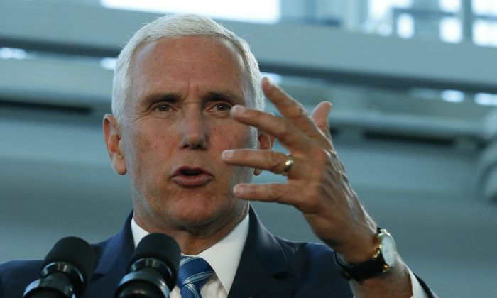 Vice President Mike Pence speaks following his tour of the U.S. Navy Hospital Ship USNS Comfort, Miami, Fla., on June 18, 2019. (Joe Skipper/Getty Images)