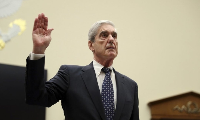 Former special counsel Robert Mueller is sworn in before he testifies before the House Judiciary Committee hearing on his report on Russian election interference, on Capitol Hill, in Washington, on July 24, 2019. (Andrew Harnik/AP Photo)
