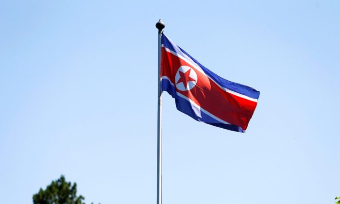 The flag of North Korea is seen in Geneva, Switzerland, on June 20, 2017. (Pierre Albouy/Reuters)