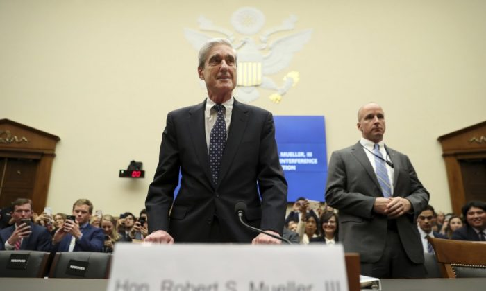 Former special counsel Robert Mueller arrives to testify before the House Intelligence Committee hearing on his report on Russian election interference, on Capitol Hill, in Washington, on July 24, 2019. (Andrew Harnik/AP Photo)