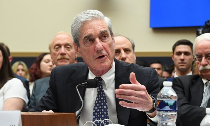 Former Special Counsel Robert Mueller testifies before the House Select Committee on Intelligence hearing on Capitol Hill in Washington, DC, July 24, 2019. (JIM WATSON/AFP/Getty Images)