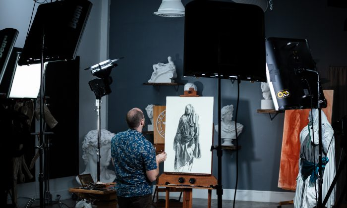 New Masters Academy shooting a video of art instructor Mliya Mirochnik at work. (Courtesy of New Art Masters)