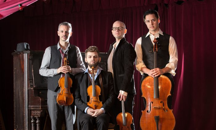 The Brooklyn Rider quartet (L–R) : violinists Johnny Gandelsman and Colin Jacobsen, violist Nicholas Cords, and cellist Michael Nicolas. (Erin Baiano)