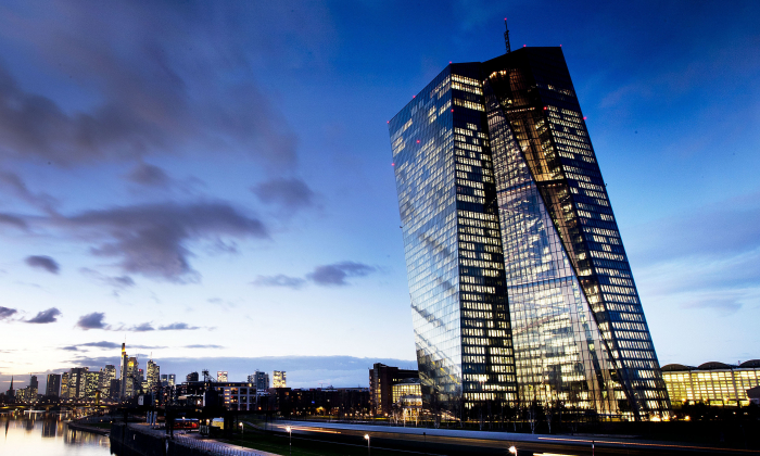 In this Dec. 11, 2018, photo the European Central Bank sits next to the river Main in Frankfurt, Germany. (Michael Probst/AP)