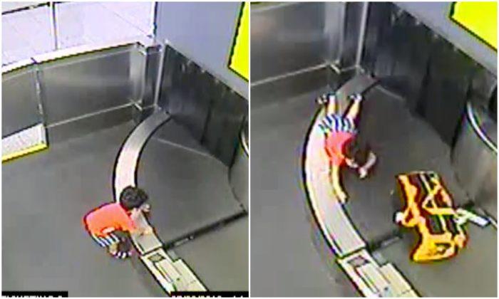 Video stills of the toddler who was injured on a conveyor belt in Atlanta International Airport on July 22. (Atlanta International Airport)