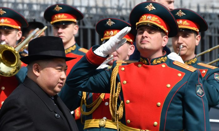North Korean leader Kim Jong Un attends a ceremony upon his departure from Russia, outside the railway station in the far-eastern Russian port of Vladivostok on April 26, 2019. (Yuri Kadobnov/ AFP/Getty Images)