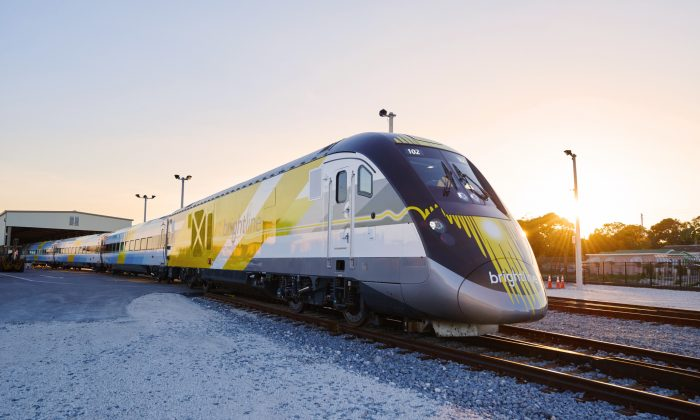 Brightline, which is soon to be rebranded as Virgin Trains USA, travels from West Palm Beach to Miami in just over an hour. (Courtesy of Virgin Trains)