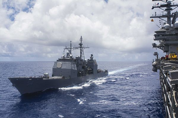 The guided-missile cruiser USS Antietam (CG 54) is pictured in the Philippine Sea on June 21, 2018. (U.S. Navy photo/Erwin Jacob V. Miciano/Released)