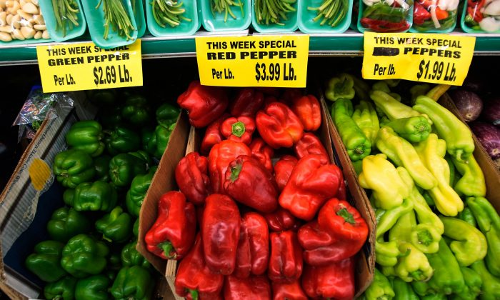 Prices for produce are displayed at a grocery store in Manhattan's Lower East Side in New York City on July 16, 2008. (Chris Hondros/Getty Images)