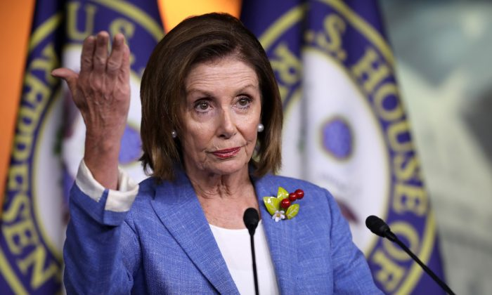 Speaker of the House Nancy Pelosi (D-Calif.) holds her weekly press conference at the U.S. Capitol Visitors Center in Washington on July 26, 2019. (Chip Somodevilla/Getty Images)