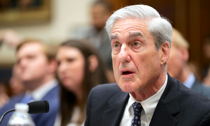 Former Special Counsel Robert Mueller testifies before the House Intelligence Committee on July 24, 2019. (Chip Somodevilla/Getty Images)