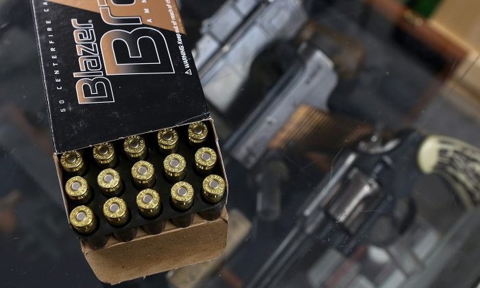 A box of 9mm bullets sits on the counter at Sportsmans Arms in Petaluma, Calif. on April 2, 2013. (Justin Sullivan/Getty Images)
