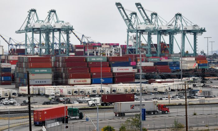 Shipping containers from China and Asia are unloaded at the Port of Los Angeles in Long Beach, Calif., on May 14, 2019. (Mark Ralston/AFP/Getty Images)
