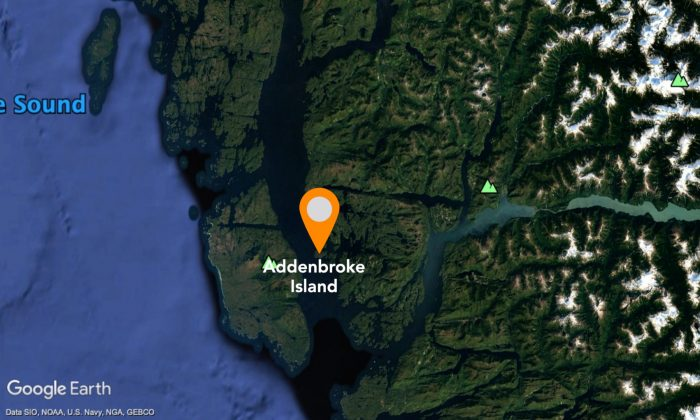 A float plane had crashed on Addenbroke Island, about 100 kilometres off the northern end of Vancouver Island, Canada. (Google Earth)