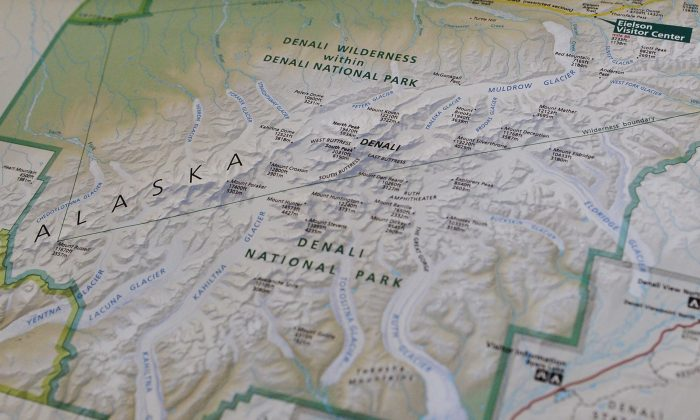"""A photo taken onboard Air Force One enroute Alaska shows a National Parks Service map shows the newly renamed """"Denali"""" which was formerly known as Mount McKinley in Alaska, on Aug. 31, 2015. (Mandel Ngan/AFP/Getty Images)"""