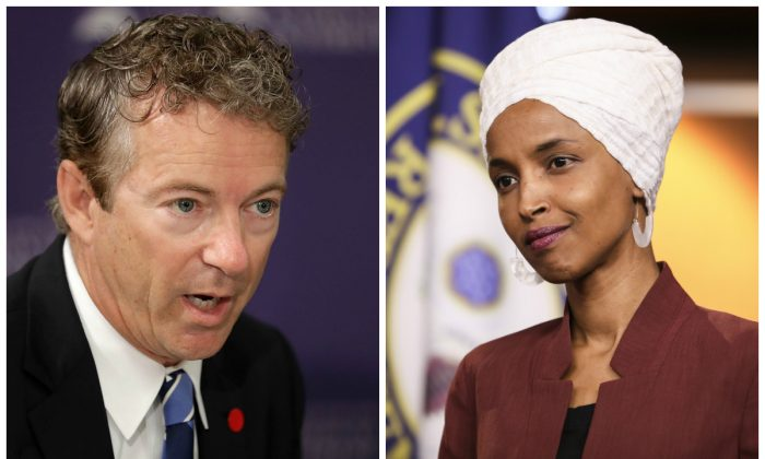 (L) Sen. Rand Paul (R-Ky.) at the Center for the National Interest in Washington on Sept. 19, 2016. (R) Rep. Ilhan Omar (D-Minn.) speaks at a press conference on the Capitol on July 15, 2019. (Chip Somodevilla/Getty Images; Holly Kellum/NTD)