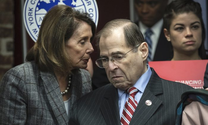 Speaker of the House Nancy Pelosi (D-Calif.) speaks with House Judiciary Committee Chairman Rep. Jerry Nadler (D-N.Y.) during a press conference in New York City on March 20, 2019. (Drew Angerer/Getty Images)